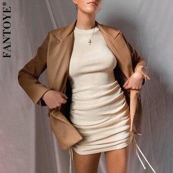 FANTOYE Cotton Full Sleeve Dress 2020 Autumn New Women Fold Ruched Drawstring Slim Mini Dress Casual Streetwear O-Neck Dresses 4