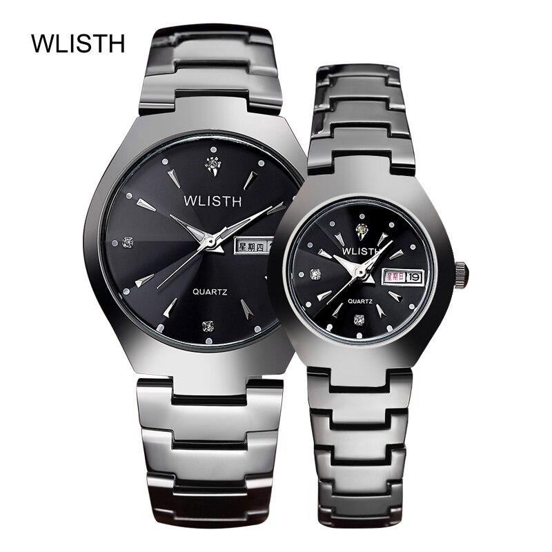 Watch lovers watch waterproof steel band luminous calendar men and women quartz watches a pair of WLISTH brand free shipping 1