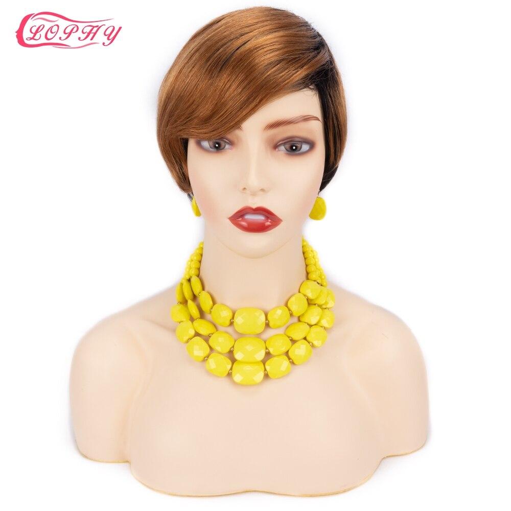 Pixie corte peruca de cabelo humano curto bob em linha reta completo máquina feita ombre loira borgonha perucas de cabelo humano barato para preto