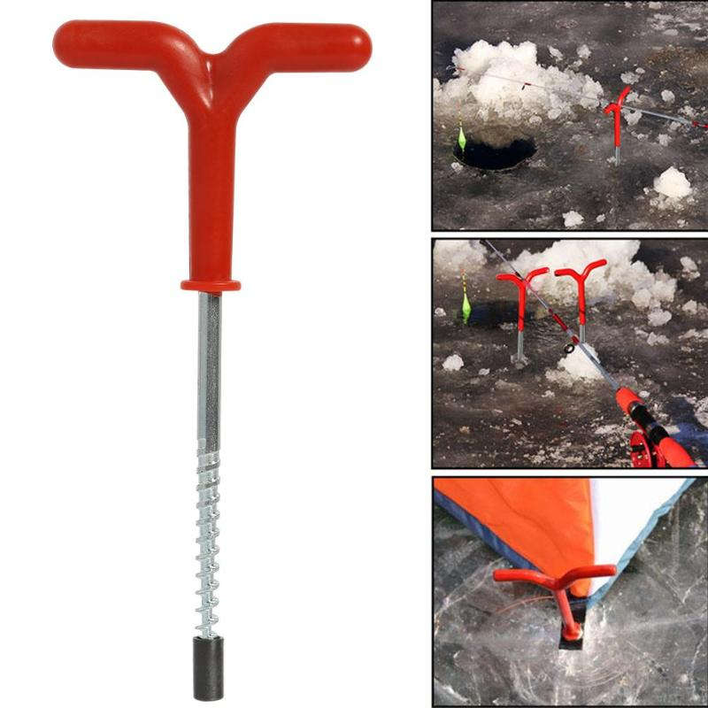 Outdoor Screw Fixed Nail Ice Auger Spiral Drill Rod Holder Fishing Tackle