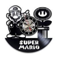 Disco de Vinil do vintage Relógio de Parede Design Moderno Decorativa Crianças Quarto Super Mario Jogo Relógio de Parede Relógios Decoração Da Sua Casa