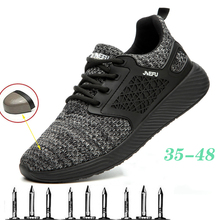 New Style Work Boots Men's Steel Toe Cap Shoes Anti-Puncture High-Quality Ultra-Light Flying Woven Safety Shoes, Direct Sales