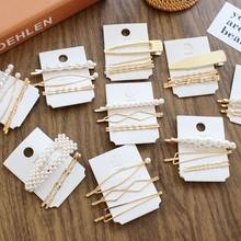 1SET Minimalist Metal Geometric Gold Hairpin Hair Accessories Imitiation Pearl Hair Clips for Women Girls Hair Jewelry Headwear(China)