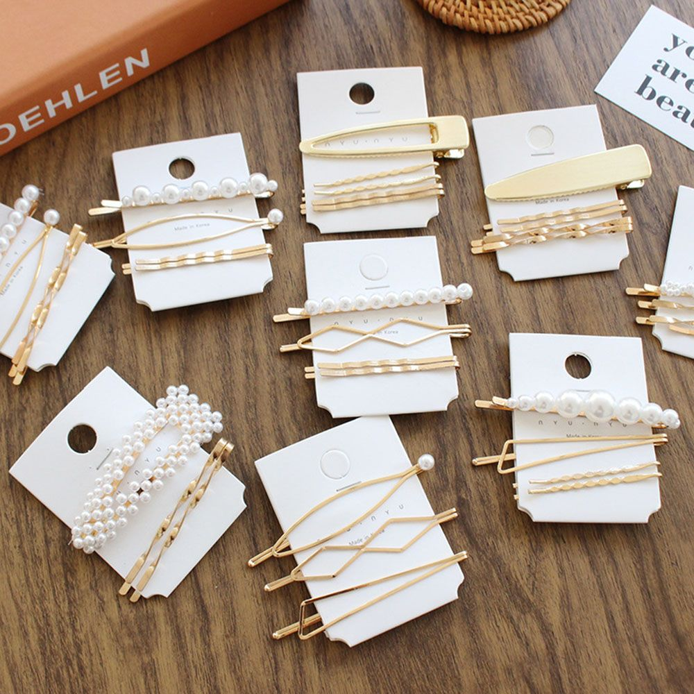 1SET Minimalist Metal Geometric Gold Hairpin Hair Accessories Imitiation Pearl Hair Clips for Women Girls Hair Jewelry Headwear