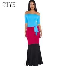 TIYE Elegant 3-color Stitching Sexy Off Shoulder Maxi Dress Summer Bodycon Bandage Women Pencil Casual Party Retro Wear