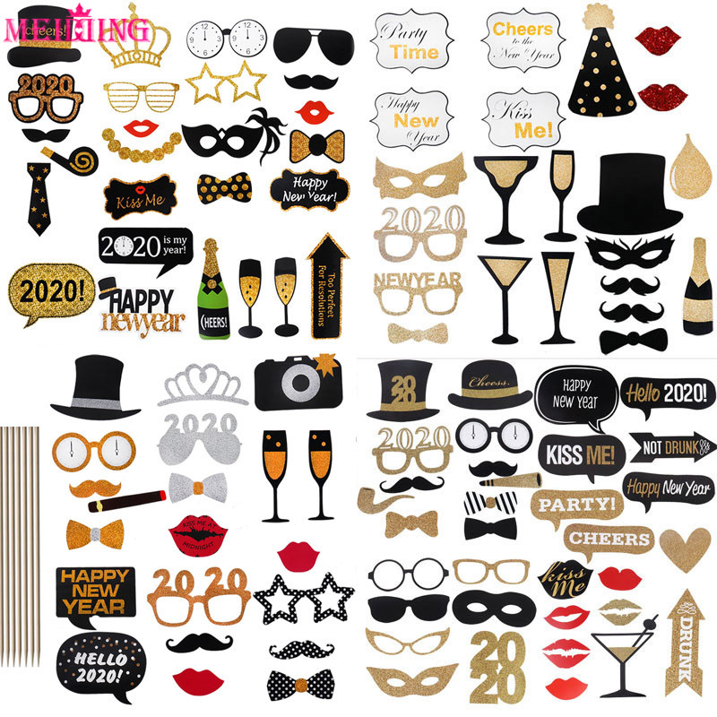 Happy New Year 2020 Photobooth Props Masks Hat Mustache Lip Glasses Photo Booth New Year Eve Party Decoration Ornaments Noel