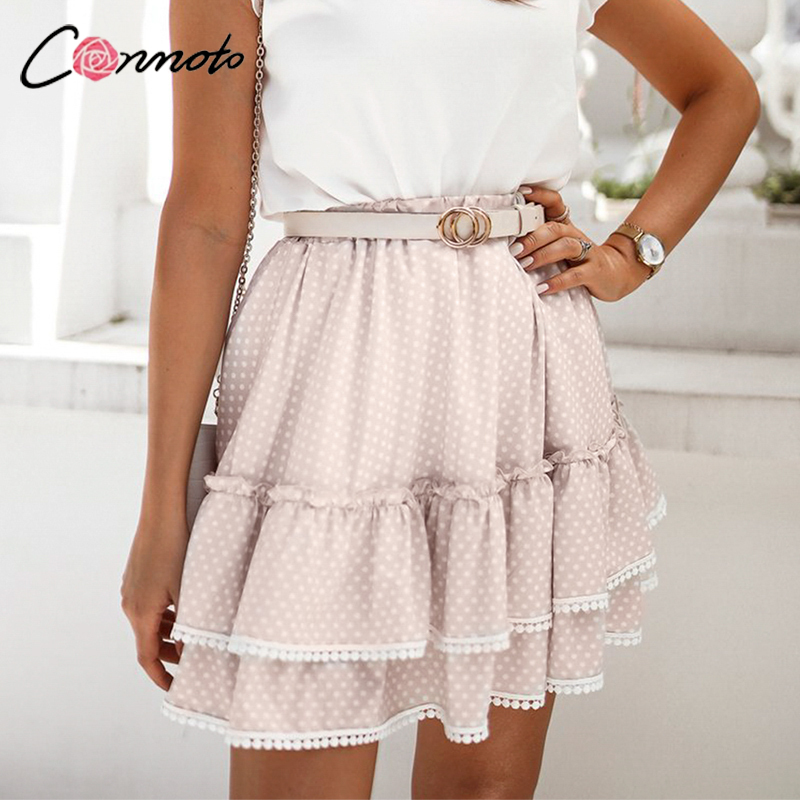 Conmoto Light Apricot Polka Dot A line Mini Skirt Fashion High Waist Ruffled Summer Women Short Skirt Casual Female Skirt New