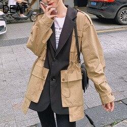 DEAT 2021 New Autumn Fashion Women Jackets Safari Style Loose Patchwork Full Sleeve Notched Pocket Drawstring Wild Coat TX540