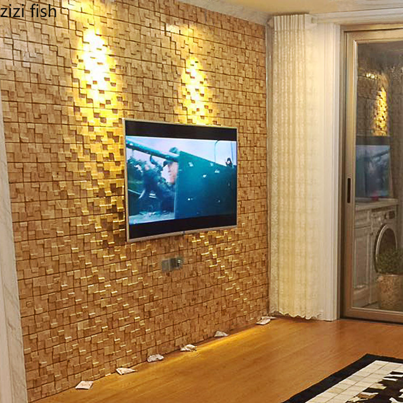 Solid Wood Mosaic Tile Tv Background Wall Decoration Living Room Wallpaper Decorative Bar Exhibition Hall Decoration Materials Decorative Boards Aliexpress