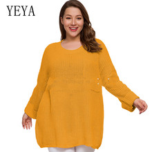 YEYA Large Size 4XL Knitting Women Sweaters and Pullovers Solid Slim Casual Ladies Knitted Sweater Winter New Elegant Pullover