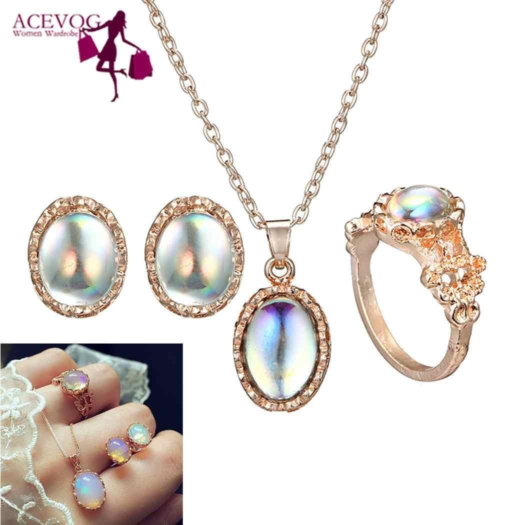Jóias femininas moda oval artificial gem pingente brincos colar casual, rua, festa, clube, anel ao ar livre