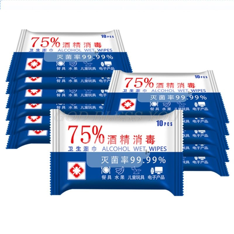 10 Sheets/Pack Portable 75% Alcohol Wet Wipes Antiseptic Disinfection Wipes Sterilization Wipes Household Hand Cleaning Wipes