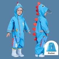 1-9 jahre Alt Cartoon Dinosaurier Wasserdichte Overall Regenmantel Mit Kapuze Kinder Einteiliges Regen Mantel Tour Kinder Regen getriebe Anzug