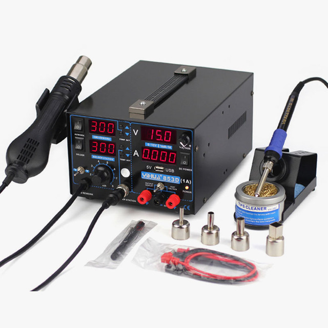 220V/110V YIHUA 853D 1A USB Rework Station with Soldering Station DC Power Supply and Hot Air for Welding