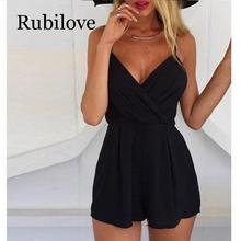 цены Rubilove Sexy Playsuit Women Sleeveless Bodycon Black Elegant Jumpsuit Ladies Summer Romper Womens V-Neck Beach Jumpsuits Overal