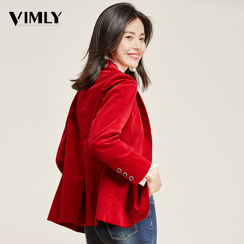 Image 5 - Vimly Office Ladies Solid Blazer Vintage Corduroy Women Business Jacket Coat Elegant Autumn Winter Outwear-in Blazers from Women's Clothing