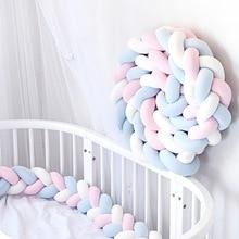 2M Nursery Cradle Protector Baby Bedding Room Decor Baby Crib Bumper Knotted Bed Bumper Crib Protector