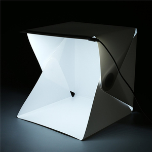 """Image 2 - Mini caja de luz plegable de 24cm / 9 """"para estudio de fotografía, caja de luz LED suave para habitación, caja de fondo de foto de cámara, Kit de tienda de iluminación"""