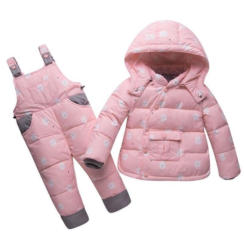 Ensemble de vêtements d'hiver pour enfants garçons filles duvet de canard veste + pantalon costume épais manteaux pour vêtements de dessus enfant en bas âge nouveau-né vêtements de neige pour bébés