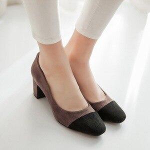 Image 2 - ZawsThia 2020 טלאי מותג שמות רדוד עגול הבוהן משאבות גבירותיי נעלי אופנה גבוהה עקבים נעלי עקב פורמליות משרד אישה נעליים