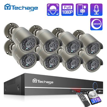 Techage H.265 8CH 1080P HDMI POE NVR Kit CCTV Security System 2.0MP IR Outdoor Audio Record IP Camera P2P Video Surveillance Set techage h 265 8ch 2mp poe security camera system 1080p poe nvr kit p2p cctv video surveillance outdoor audio record ip camera