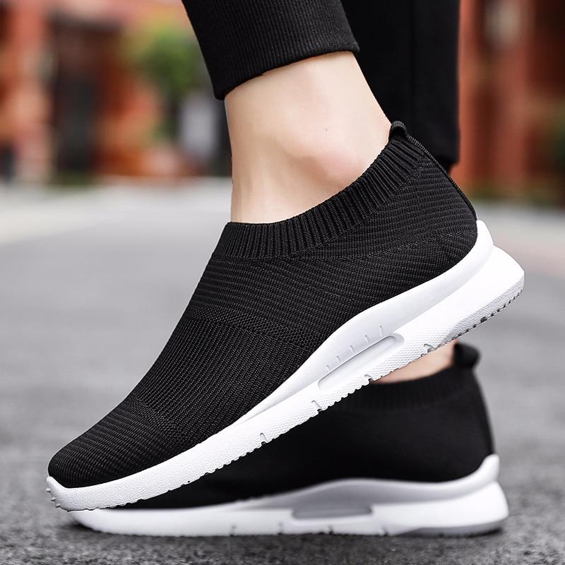 Ayakk.'ten Erkek Rahat Ayakkabılar'de Erkek ayakkabıları rahat ayakkabılar moda ışık ayakkabı chaussure de securite dökün homme yıkılmaz ayakkabı nefes tenis hombre title=