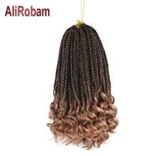 AliRobam Свободные Вьющиеся концевые косички Омбре коричневая Высокотемпературная синтетическая оплетка крючком плетение волос наращивание 22 пряди/упаковка