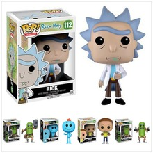 цена на Funko POP Rick and Morty with Original Box MR.MEESEEKS PICKLE RICK with Laser Vinyl Action Figure Collection Model Toys 2F28
