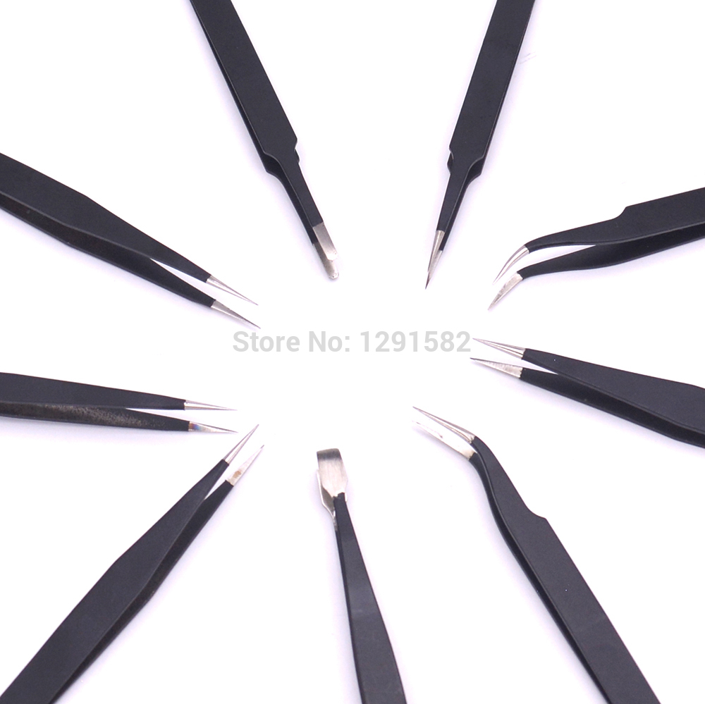 Hot EDS Tweezers Set Stainless Steel Anti-static Precision Tweezers for Electronic Mobile Phone Repair Tools Kit non-slip RC Too