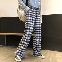 Black and white plaid pants women's new loose high waist was thin ankle-length wide-leg pants Korean kawaii women's pants