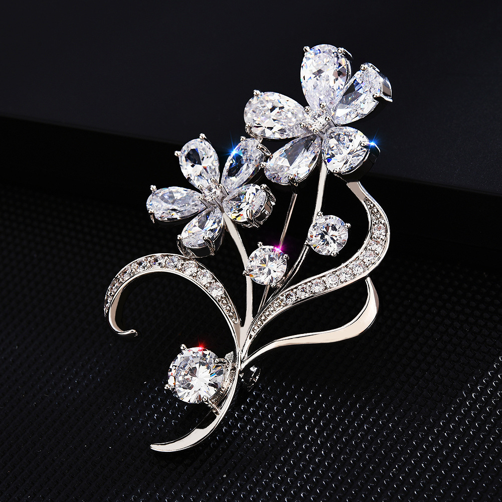 Bad Guy Sliver Flower Zircon Brooch Pin Shiny Flowers Brooch Jewelry Clothes Scarf Buckle Garment Accessories Fine Jewelry Gifts-3