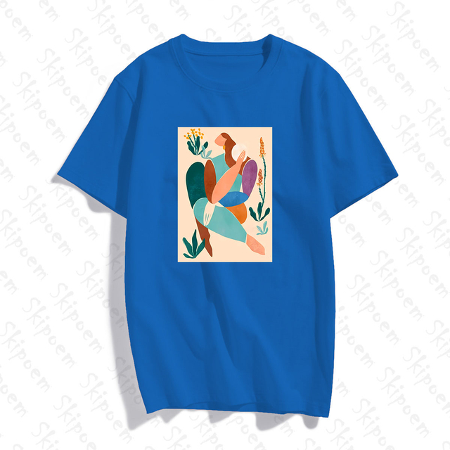 Abstract Art Woman With Green Plants T-shirt Women Vintage Aesthetic 8 Colors Short Sleeve Cotton Tee Shirt Femme Summer Tops 5