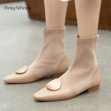 women fashion slip on ankle boots stretchy flock genuine leather low heels metallic tablet runway designer autumn booties shoes недорого