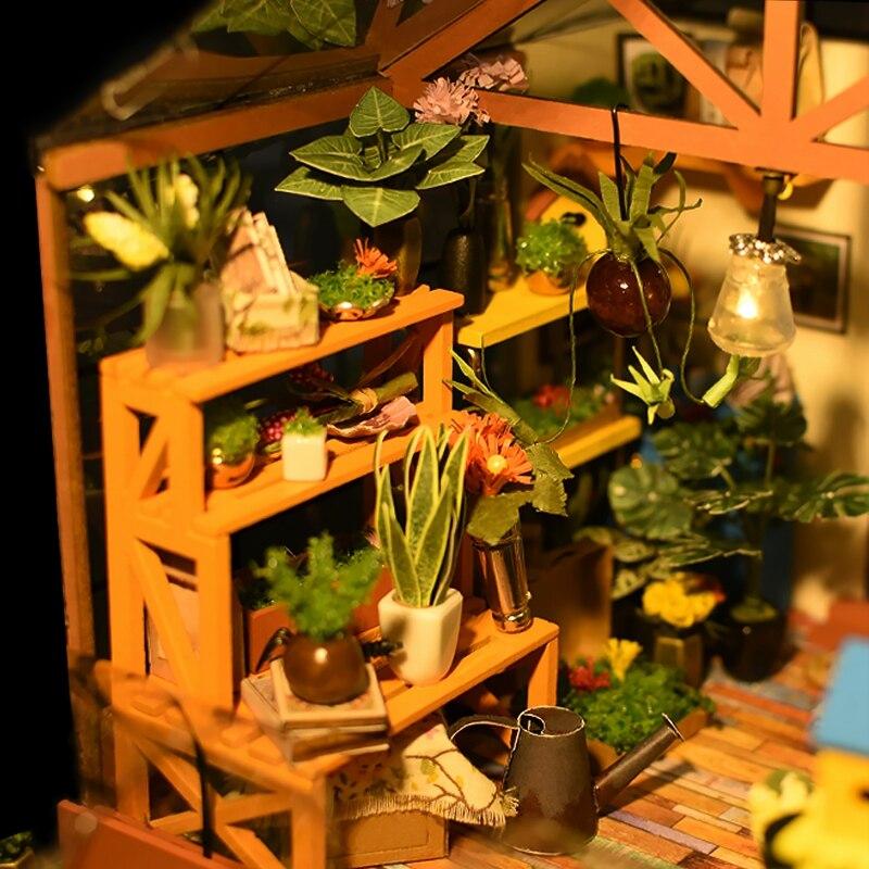 Robotime 5 sortes bricolage maison de poupée avec meubles enfants adulte Miniature maison de poupée Kits en bois jouet DG - 4