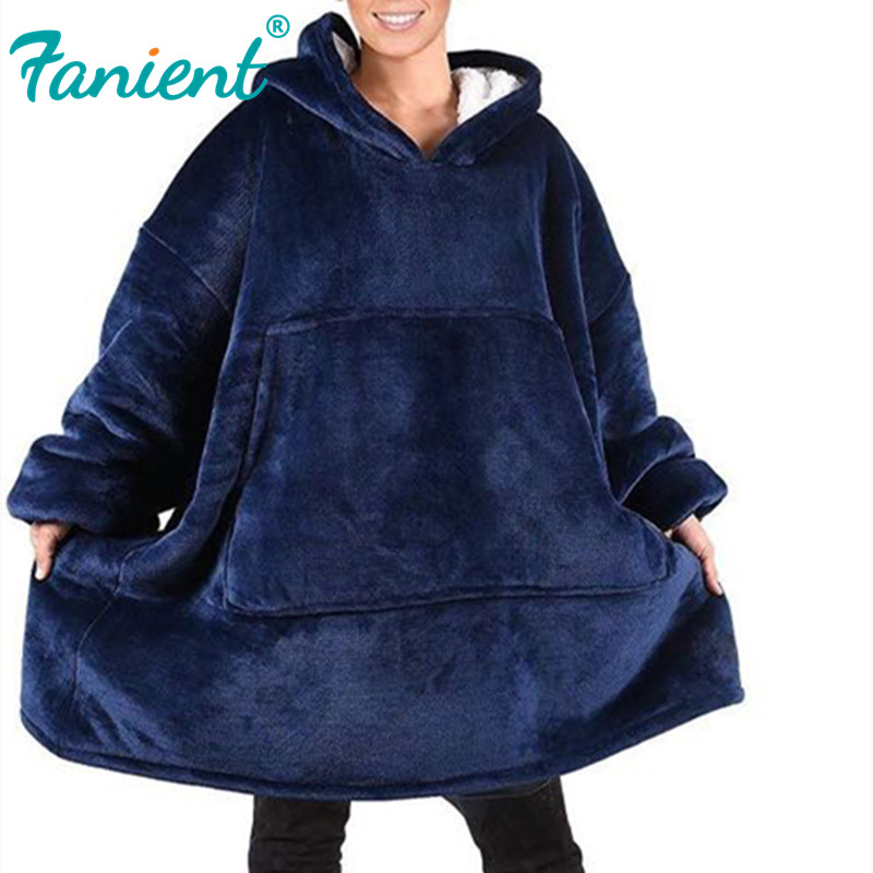 Women Blanket Sweatshirt Robe Winter Hoodies Outdoor Hooded Coats Warm Comfy Bathrobe Christmas Fleece Blanket Sudadera Mujer
