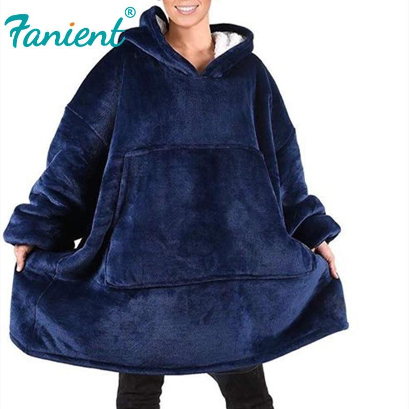 Women Blanket Sweatshirt Robe Winter Hoodies Outdoor Hooded Coats Warm Comfy Bathrobe Christmas Fleece Blanket Sudadera Mujer