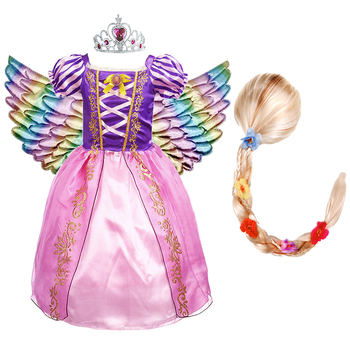 Girls Rapunzel Princess Dress Kids Summer Flower Tangled Fancy Costume Children Disguise Birthday Carnival Party Clothes and Wig girls jasmine costume and wig headband kids christmas carnival birthday party dress children cosplay clothes accessories