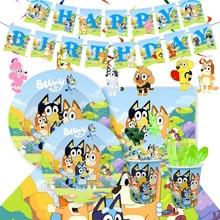 Novos cães dos desenhos animados bingo bluey tema festa conjunto de talheres descartáveis placas saco de presente copos decorações aniversário chá de fraldas suprimentos