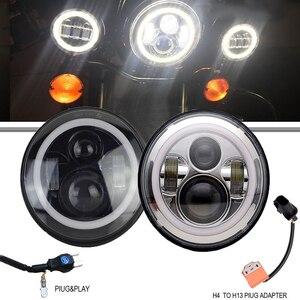 Светодиодный круглый фонарь с поворотным сигналом Angel eye, 7 дюймов, черный или хромированный корпус для мотоцикла, мотоцикла, Harley, Davidson, Yamaha, ...