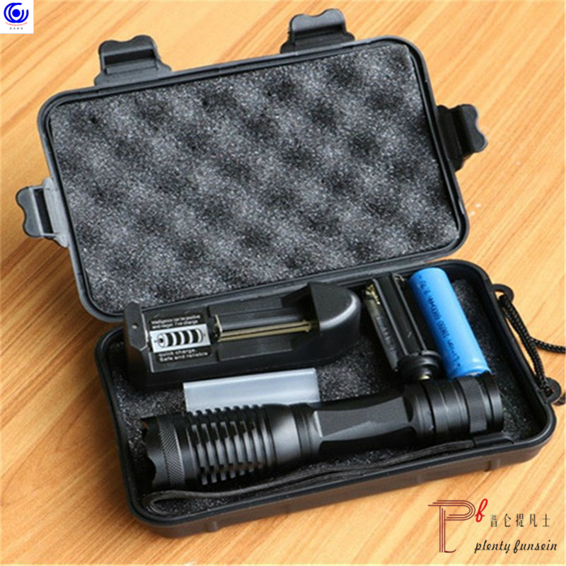 LED Tactical Flash Light T6/L2/XPL V6 10000 Lumens Lanterna Adjustable Torch Zoomable Flashlight + Charger +1* 18650 Battery