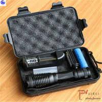 Led tactical flash light t6/l2/xpl v6 10000 lumens lanterna tocha ajustável zoomable + carregador 1*18650 bateria