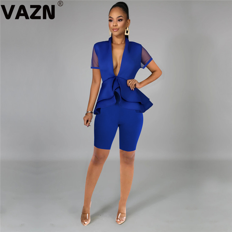 VAZN 2020 Summer Hot Sale Sxy Women 5 Color Solid 2-piece Mid Set Short Sleeve Deep V-neck Ruffles Tops Knee-length Pants Sets