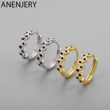 ANENJERY 925 Sterling Silber Schwarz Micro Zirkon Hoop Ohrringe für Frauen Einfache Exquisite Ohr Schmuck Geschenke S-E1410
