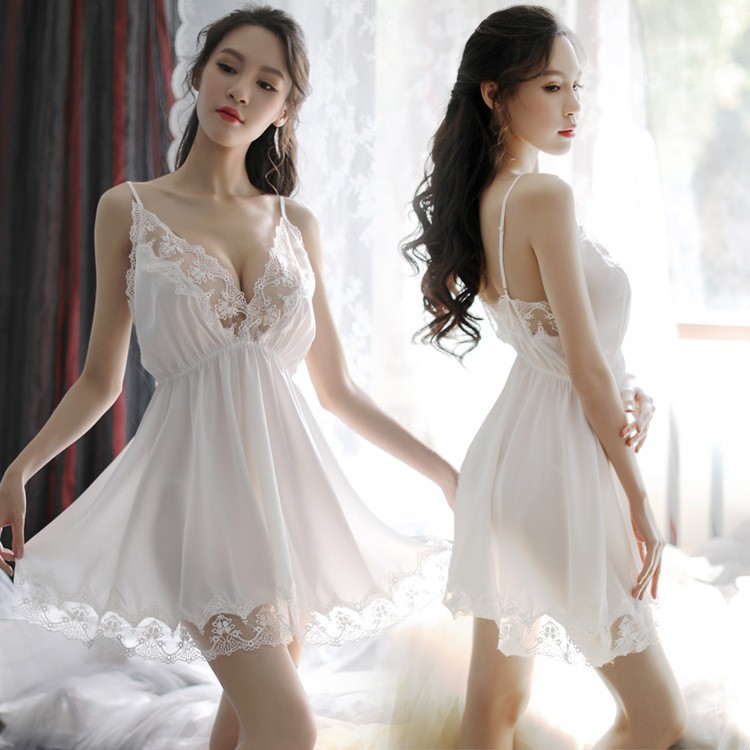 New Style Sexy Lingerie Imitated Silk Fabric Lace Embroidered Camisole Sexy Pajamas V-neck Temptation Backless Pajamas Set