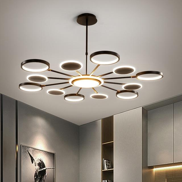 50 ワット 66 ワット 98 ワットledシャンデリア照明現代の金または黒のリビングルームのベッドルームのホームデコぶら下げランプフィッティング調整 3 色