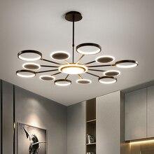 Iluminación LED de araña oro moderno, 50W, 66W, 98W, negro, para sala de estar, dormitorio, decoración del hogar, ajuste de lámpara, 3 colores