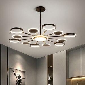 Image 1 - Iluminación LED de araña oro moderno, 50W, 66W, 98W, negro, para sala de estar, dormitorio, decoración del hogar, ajuste de lámpara, 3 colores