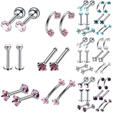 12pcs/set Stainless Steel Nose Rings Stud Body Piercing Crystal Barball Bars Tongue Eyebrow Belly Button Ring Body Jewelry mix lot wholesales 80pcs stainless steel eyebrow piercing belly button rings naval ear nose rings lip tongue body jewelry gold