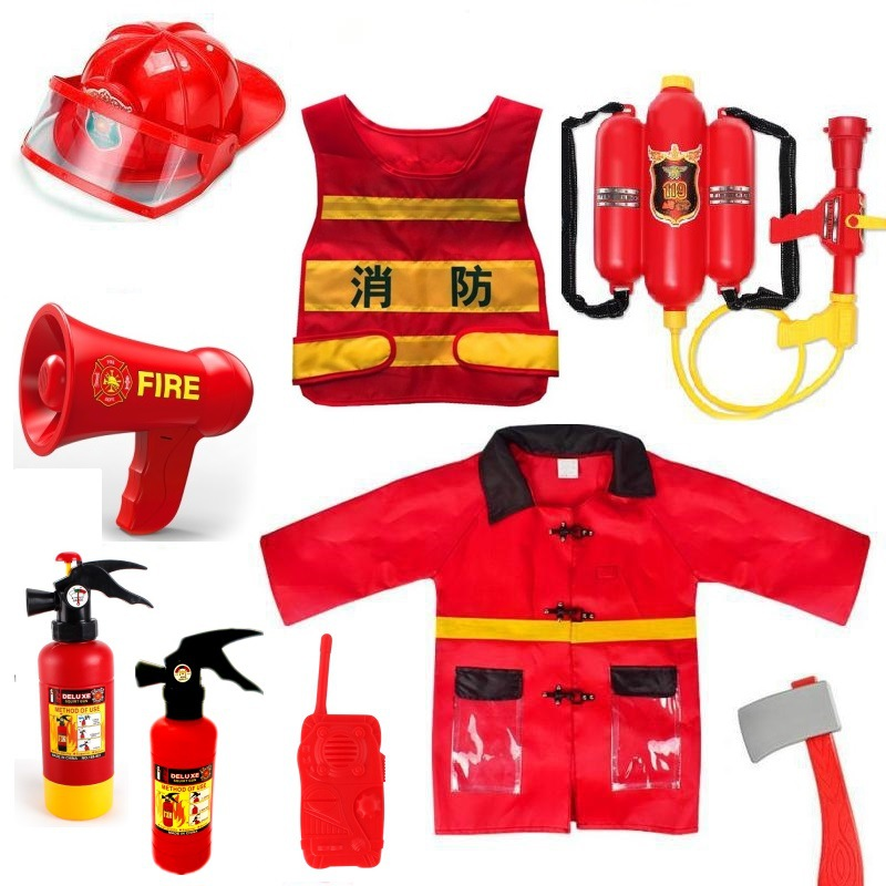 Children Toys Firefighter Clothing Fireman Vest Helmet Water Gun Hydrant Fire Extinguisher Intercom Toys Set Role Play Accessori