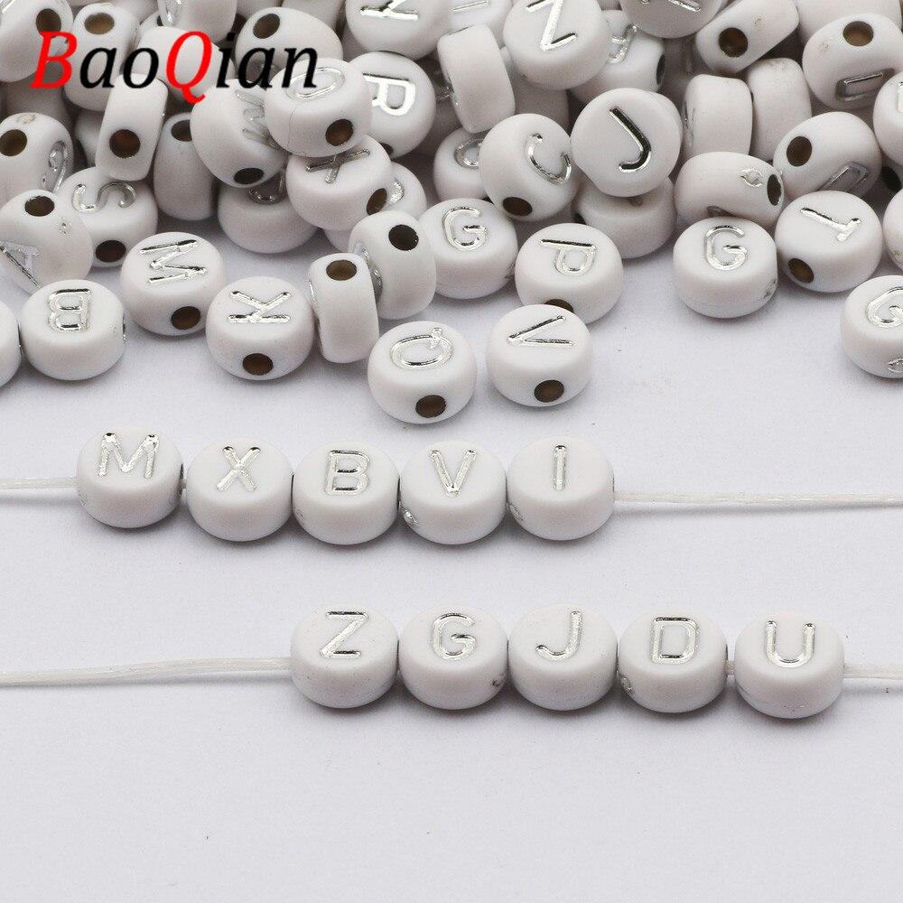 100/200/300/400/500 adet beyaz ve gümüş renk alfabe akrilik aralıklı mektubu boncuk takı yapımı Diy bilezik kolye